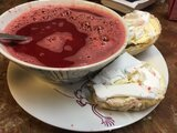 Beet(root)/coco milk soup with homemade buns
